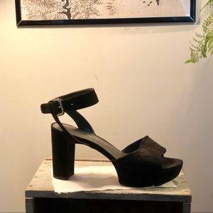 Stewart Weizmann chunky black suede heel
